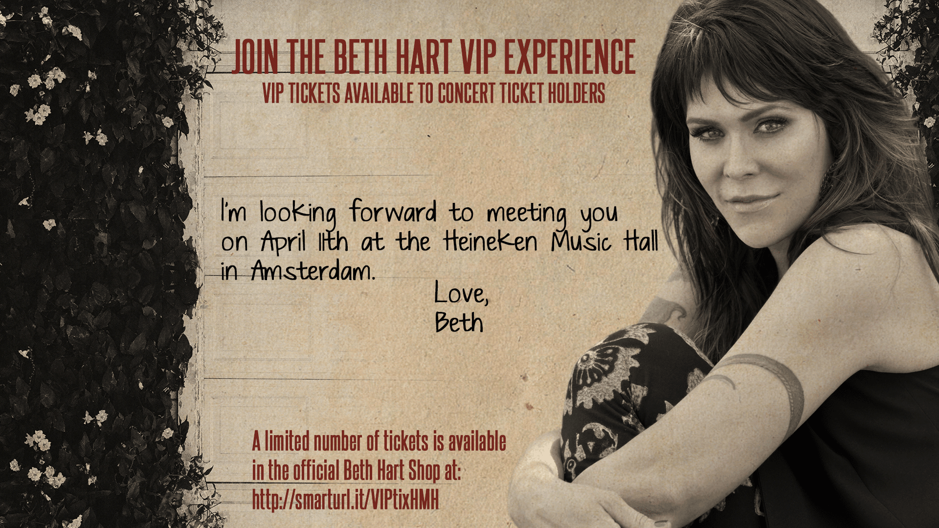 Beth Hart Official Web Site Vip Tickets Available To Amsterdam Show